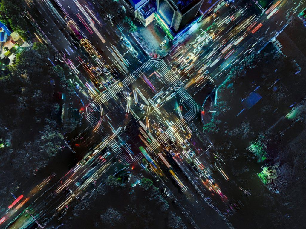 Photo du trafic prise avec un drone pour illustré la mobilité